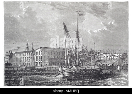 1810 royal dockyard deptford navy naval marine construction build ship boat sail river Thames London Greater capital - Stock Photo