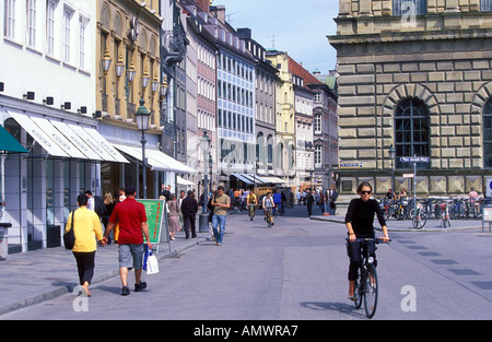 Germany Bavaria Munich Theatiner strasse with many upmarket fashion boutiques and cafes - Stock Photo