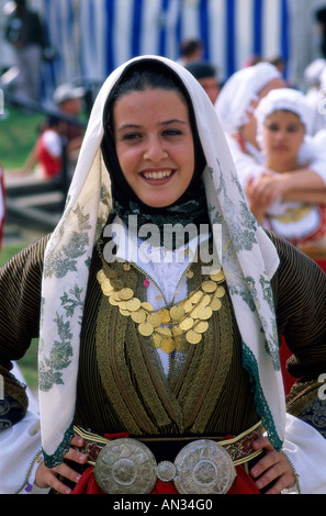 Girl Dressed in National Costume, Greece - Stock Photo