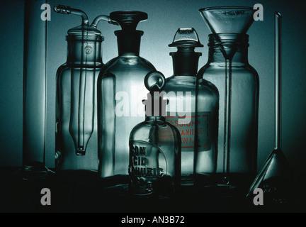 Still life of laboratory glassware in a scientific research laboratory - Stock Photo