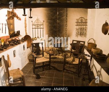 Malaga Costa del Sol  Spain Unicaja Museum of Popular Arts Recreation of 19th early 20th century farm house kitchen - Stock Photo