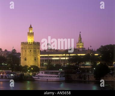 Spain Seville City view Torre del Oro and La Giralda - Stock Photo