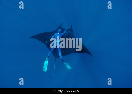 Freediver catches a free ride on Giant Manta Ray - Stock Photo