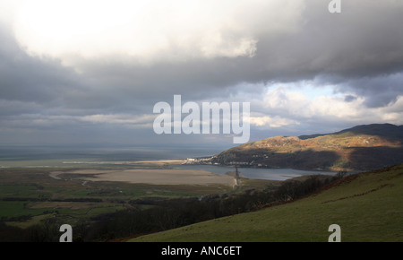 a landscape of barmouth and cardigan bay from cadir idris mountain with big stormy sky - Stock Photo