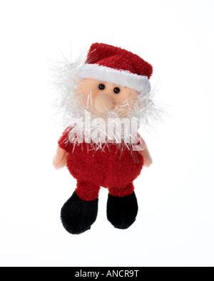 Santa Claus Christmas decoration on white background - Stock Photo