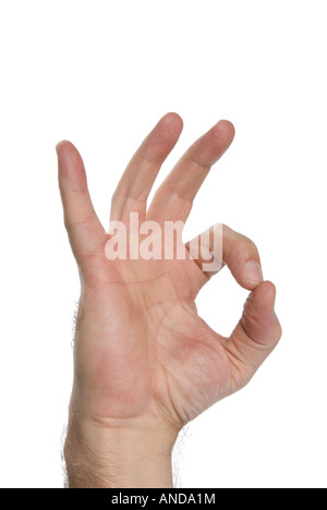 Symbol of acceptance and approval shown by a hand gesture - Stock Photo