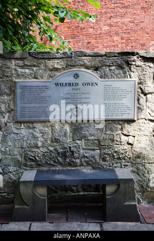 Memorial to Poet Wilfred Owen in the Town of Oswestry His Birthplace Shropshire England - Stock Photo