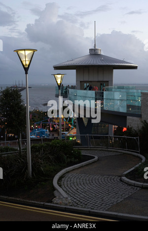 The observation and lifts tower.Pier Hill. Southend-on-Sea, Essex, England, UK. - Stock Photo