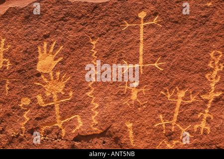 petroglyphs Village of the Great Kivas Zuni Pueblo Indian Reservation New Mexico - Stock Photo