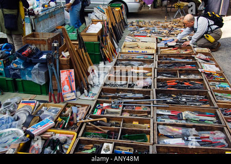 Japan, Honshu Island, Kyoto Prefecture, Kyoto City. Hardware tools being sold at the monthly flea market at Toji - Stock Photo