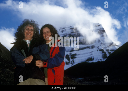 HAUSNERS at DIRA PHUK the North face of MOUNT KAILASH 6638 METERS the most sacred HIMALAYAN PEAK TIBET - Stock Photo