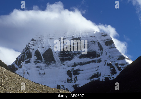 The North face of MOUNT KAILASH 6638 Meters the most sacred HIMALAYAN PEAK for BUDDHIST HINDU PILGRIMS TIBET - Stock Photo