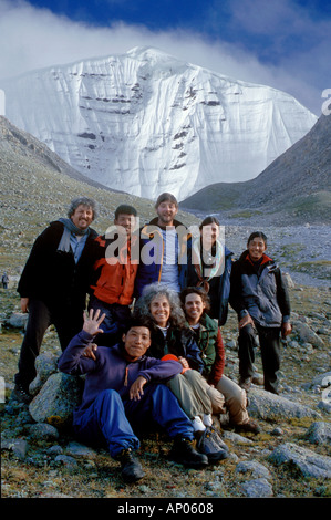 Our group at DIRA PHUK the North face of MOUNT KAILASH 6638 METERS the most sacred HIMALAYAN PEAK TIBET - Stock Photo