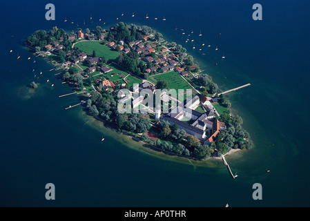Aerial view of Frauenchiemsee, Chiemsee, Bavaria, Germany - Stock Photo
