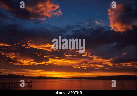 Sonnenuntergang bei Frauenchiemsee Bayern, Deutschland - Stock Photo