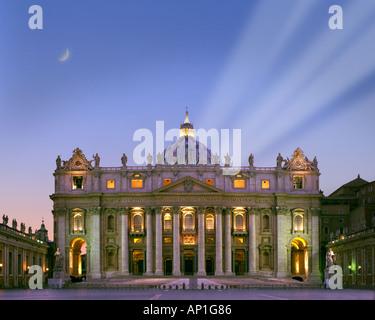 IT - ROME: Saint Peters Basilica by night - Stock Photo