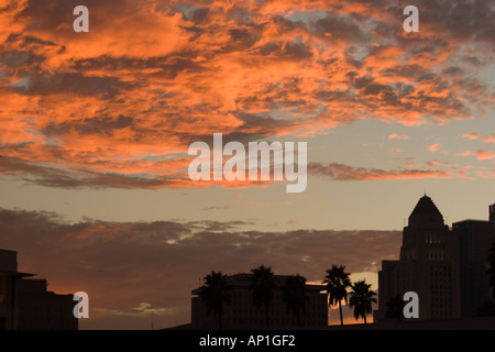 Sunset over downtown Los Angeles - Stock Photo