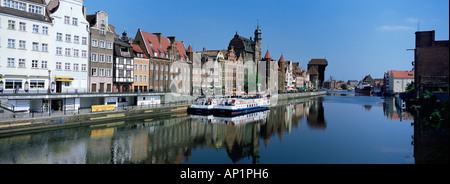 Gdansk Poland Pomerania Gdansk Danzig quayside Motlawa River Inner Port passenger ferries panoramic view - Stock Photo