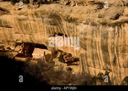 13th century native indian cliff buildings Mesa Verde National Park Oak tree house Colorado USA - Stock Photo
