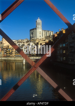 View of the Cathedral and houses overlooking the river Onyar in the city of Girona, Spain - Stock Photo