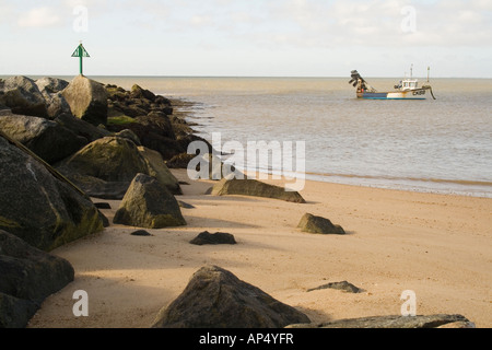 West beach near the Martello Towers at Clacton-on-Sea, Essex - Stock Photo