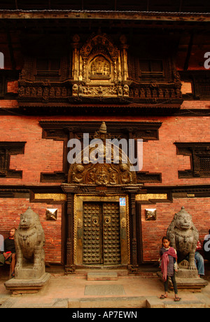 Historical entrance to Patan Museum - Stock Photo