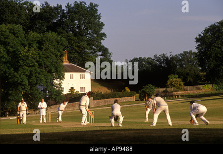 Village cricket game at Tilford Surrey. England HOMER SYKES - Stock Photo
