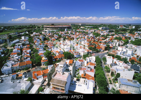 Overview of white homes in River Plata suburb with Stadium in Buenos Aires - Stock Photo