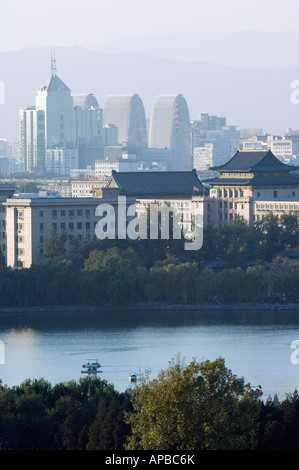 panoramic city view of Beihai Lake and the Western Hills Beijing China - Stock Photo