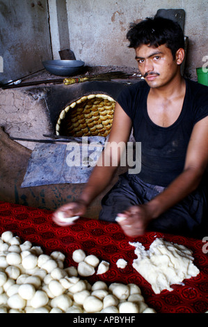 Traditional Bakery in Chinari near Mussafarabad, AJK Kashmir, Pakistan - Stock Photo