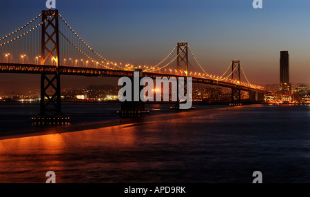 A high resolution stitched image of Bay Bridge shot from Treasure Island Copyspace on top and bottom right - Stock Photo