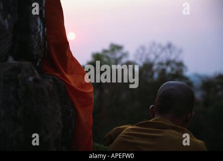Monks At Sunset At Phnom Bakheng - Stock Photo
