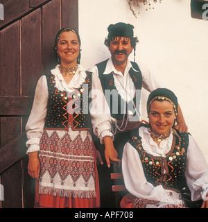 Crete Greece Three young Cretans in national costume - Stock Photo
