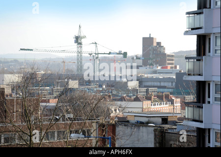 A VIEW OF BRISTOL SHOWING CRANES WORKING ON THE REDEVELOPMENT OF THE BROADMEAD SHOPPING CENTRE ALONG WITH A NEW - Stock Photo