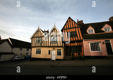 Lavenham Suffolk The crooked house gallery in the High Street - Stock Photo