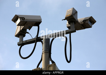 remotely controlled city urban cctv cameras surveillance Belfast Northern Ireland UK - Stock Photo