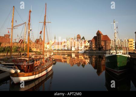 Poland Polska Pomerania Gdansk Motlawa River Inner Port Gdansk Crane Baltic Port - Stock Photo