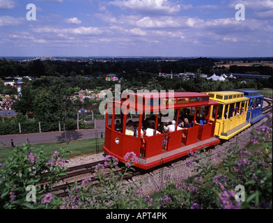 Train carrying visitors in Legoland, Windsor, England - Stock Photo