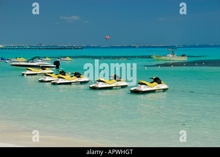 Bay with jetskis in Cancun hotel area, Quintana Roo State, Mexico, North America - Stock Photo