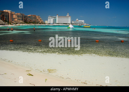 Beach in Cancun hotel area, Quintana Roo State, Mexico, North America - Stock Photo