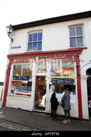 united kingdom essex old leigh on sea the mayflower fish and chip shop - Stock Photo
