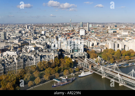 Horizontal wide angle aerial view across the rooftops of central and north London on a bright clear sunny day - Stock Photo