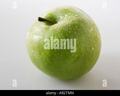 uncut green apple. Golden Delicious - Stock Photo