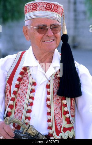 Local man in costume traditional dress in Athens Greece - Stock Photo