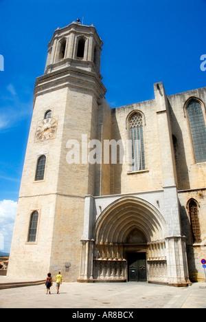 Girona Cathedral Catalonia Spain - Stock Photo