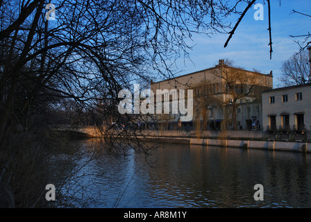 geography travel Germany Bavaria Munich buildings architecture Technology Forum Imax Cinema museum Isar River - Stock Photo