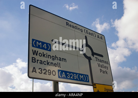 Navigational road sign on the A4 at the junction with the A329M in Reading Berkshire - Stock Photo