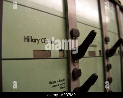 The Democratic ballot on a New York State voting machine on the SuperTuesday Primary - Stock Photo