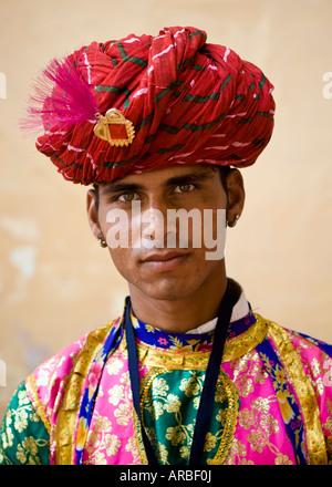 Rajasthani musician dressed in traditional costume - Jodhpur, Rajasthan, India - Stock Photo