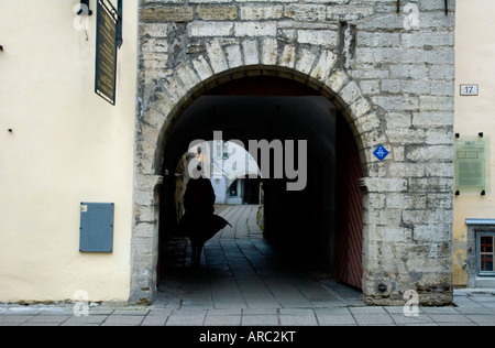 Pikk street in old town of Tallinn Estonia - Stock Photo